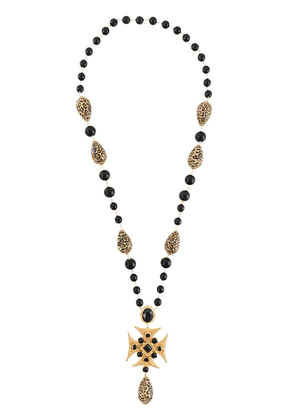 Dolce & Gabbana beaded long cross necklace - Metallic