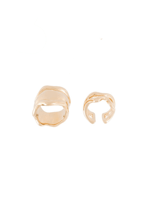 Eshvi set of two wavy motif rings - Metallic