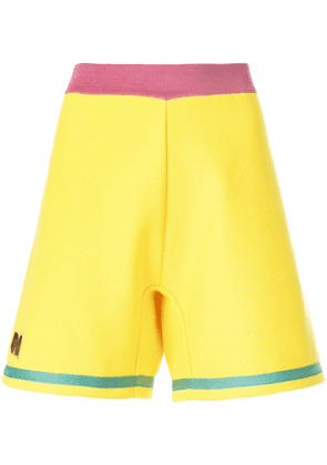 Marni embroidered A-line track shorts - Yellow