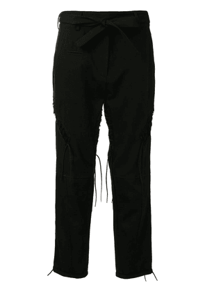 Saint Laurent belted cropped trousers - Black