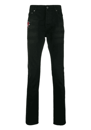 Valentino heart embroidered high rise jeans - Black