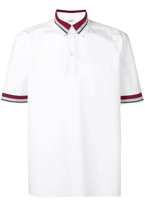 Valentino striped trim polo shirt - White