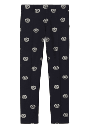 Burberry Slim Fit Fil Coupé Crest Wool Tailored Trousers - Blue