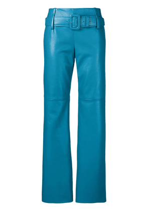 Prada regular fit leather trousers - Blue