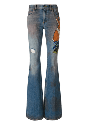 Gucci Embroidered denim pants - Blue