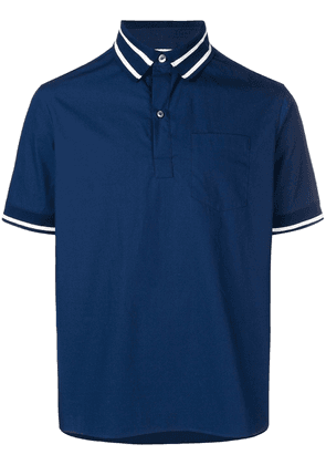Valentino striped trim polo shirt - Blue