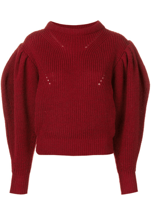 Isabel Marant billow sleeve cropped sweater - Red