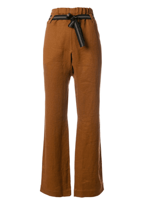 Caramel belted trousers - Yellow