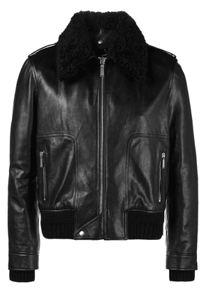 Saint Laurent Shearling collar flight jacket - Black