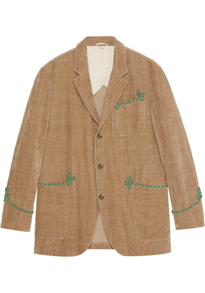 Gucci Velvet jacket with embroidery - Neutrals