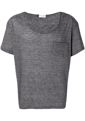 Saint Laurent micro-stripe T-shirt - Grey