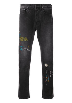 Valentino bead embroidered skinny jeans - Black
