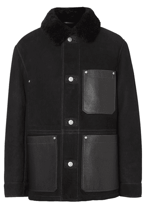 Burberry Leather Detail Shearling Workwear Jacket - Black
