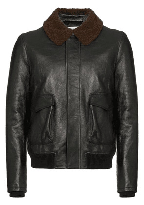 Saint Laurent shearling collar leather flight jacket - Black