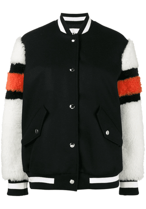 MSGM bomber jacket with shearling sleeves - Black