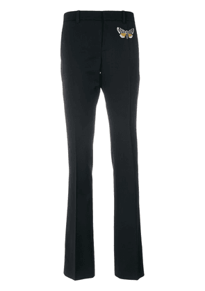 Gucci moth embroidered skinny flared trousers - Black