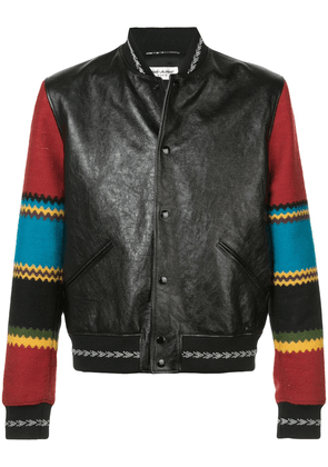 Saint Laurent contrast biker jacket - Black