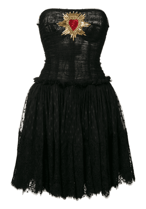 Dolce & Gabbana plumetis bustier dress with Sacred Heart patch - Black