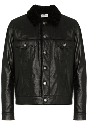 Saint Laurent Leather jacket with shearling collar - Black