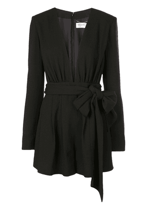 Saint Laurent plunge neck playsuit - Black