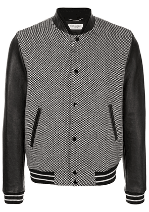 Saint Laurent checkered body bomber jacket - Black