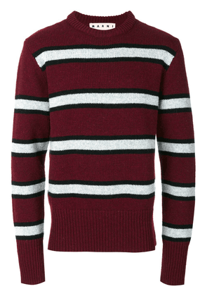 Marni striped crew neck sweater - Red