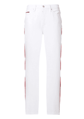 Ck Jeans striped straight leg trousers - White