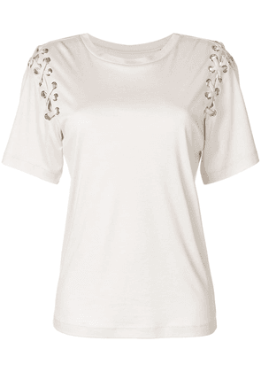 Isabel Marant lace-up sleeve T-shirt - Neutrals