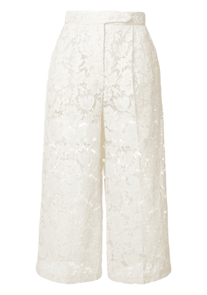 Valentino sheer lace cropped trousers - Neutrals