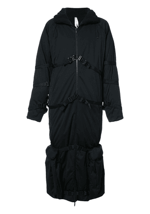 Cottweiler belt detail padded coat - Black