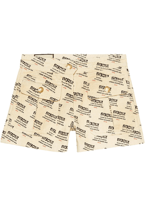 Gucci Gucci invite stamp denim shorts - Neutrals