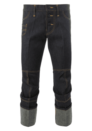 Christopher Nemeth cropped roll-up trousers - Blue