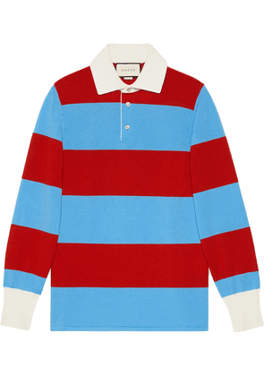 Gucci Striped polo with Thanatos embroidery - Blue