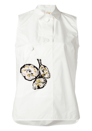 Marni sleeveless appliqué shirt - White
