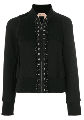 No21 bomber jacket with eyelet details - Black
