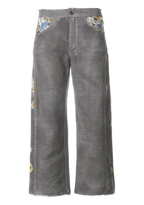 Avant Toi cropped embroidered trousers - Grey