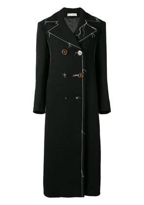 Marni long contrast stitching peacoat - Black