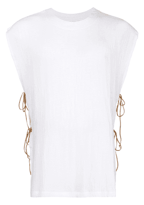 Caravana round neck shirt with leather ties - White