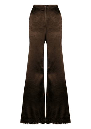 Marni frayed flared trousers - Brown