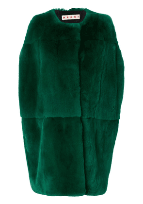 Marni rabbit fur cocoon gilet - Green