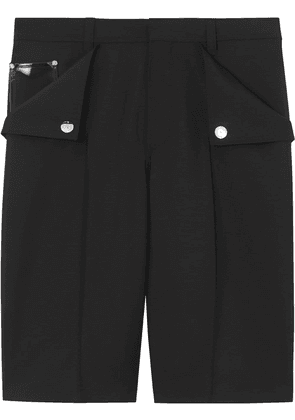 Burberry Pocket Detail Wool Mohair Tailored Shorts - Black