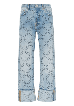 Valentino grid logo turned up jeans - Blue