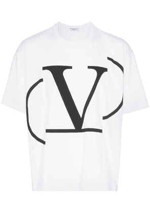 Valentino V logo print panelled cotton T-shirt - White
