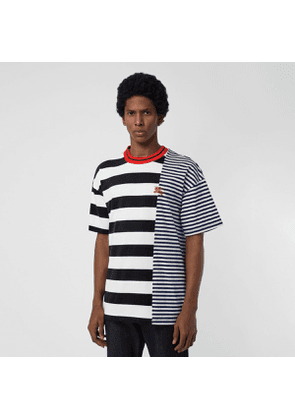 Burberry Contrast Stripe Cotton T-shirt, Blue