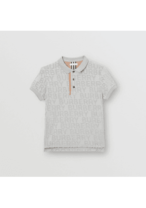Burberry Childrens Logo Towelling Polo Shirt, Grey