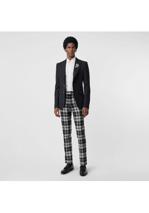 Burberry Slim Fit Tartan Wool Cashmere Tailored Trousers, Black