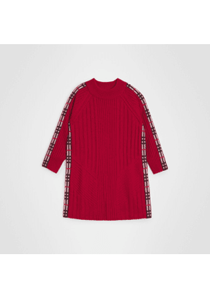 Burberry Childrens Check Detail Wool Cashmere Dress, Red
