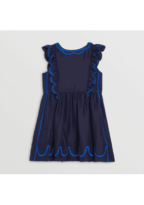 Burberry Childrens Ruffle Detail Embroidered Silk Dress, Size: 14Y, Blue