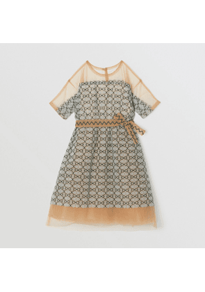 Burberry Childrens Short-sleeve Embroidered Tulle Dress, Size: 4Y, Blue