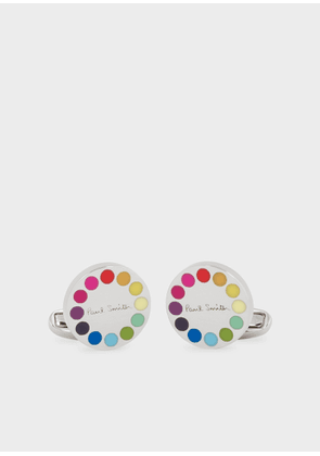 Men's Gradient Polka Dot-Edge Circular Cufflinks